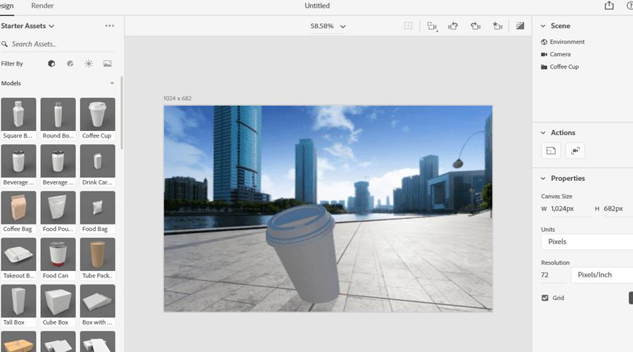 các công cụ chỉnh ảnh Adobe dimension