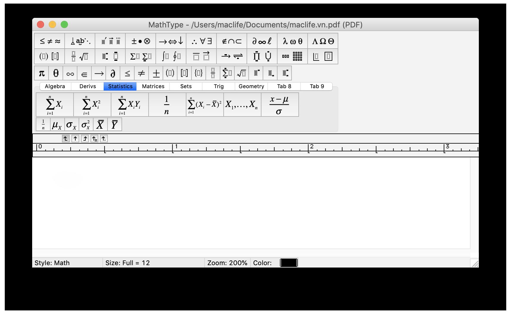 các công cụ trên Mathtype