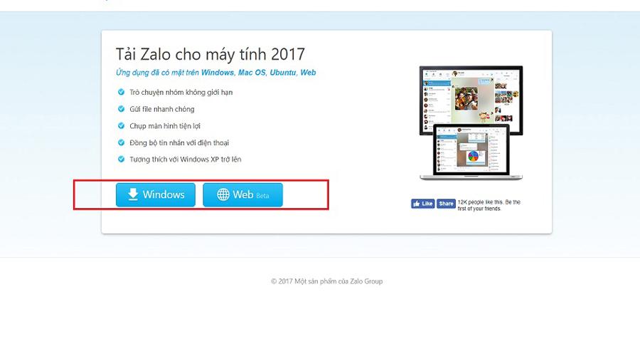 trang web tải Zalo