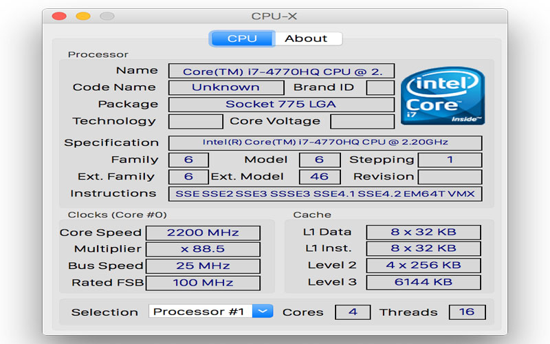 Tải phần mềm CPU X xem thông tin phần cứng cho Macbook